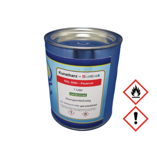 1 Liter Buntlack Kunstharz Farbe Lack RAL 3000 Feuerrot Rot seidenmatt