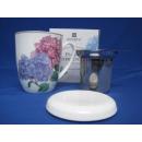 ASHDENE Becher Tasse Teetasse Porzellan Kaffeebecher Teebecher mit Teesieb Deckel 350 ml