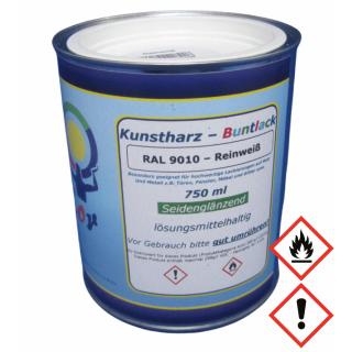 Weiß Lack Kunstharz Buntlack RAL 9010 Reinweiß Glänzend 750ml