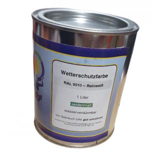 1 Liter RAL 9010 Reinweiß Weiss Acryl Wetterschutzfarbe Holzschutz seidenmatt