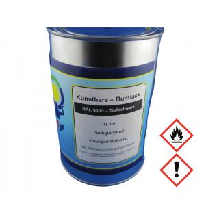 1 Liter Buntlack Kunstharz Farbe Lack RAL 9005 Tiefschwarz Schwarz Glänzend